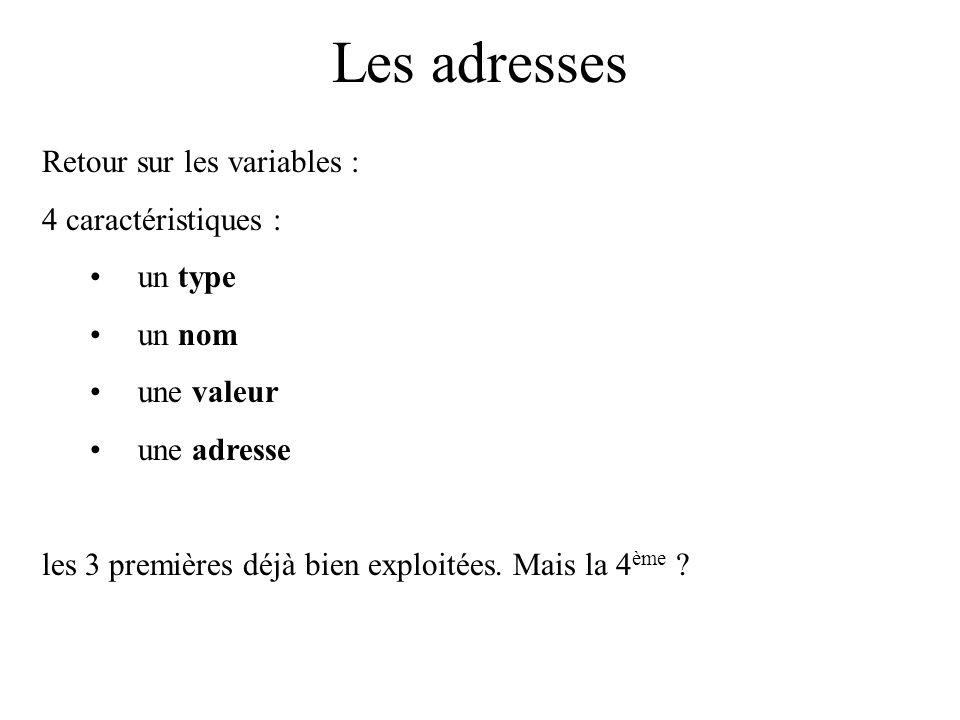 Les adresses Retour sur les variables : 4 caractéristiques : un type un nom une valeur une adresse les 3 premières déjà bien exploitées. Mais la 4 ème