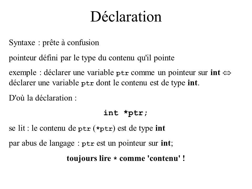 Déclaration Syntaxe : prête à confusion pointeur défini par le type du contenu qu'il pointe exemple : déclarer une variable ptr comme un pointeur sur