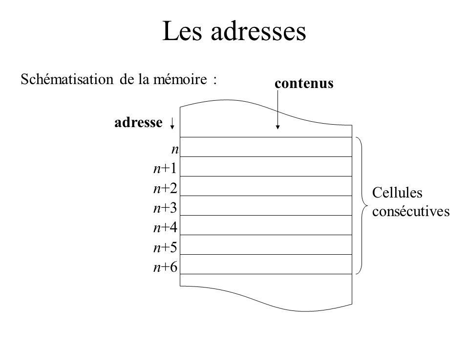 Les adresses Schématisation de la mémoire : Cellules consécutives adresse contenus n n+1 n+2 n+3 n+4 n+5 n+6