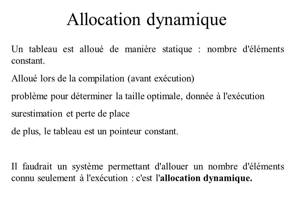 Allocation dynamique Un tableau est alloué de manière statique : nombre d'éléments constant. Alloué lors de la compilation (avant exécution) problème