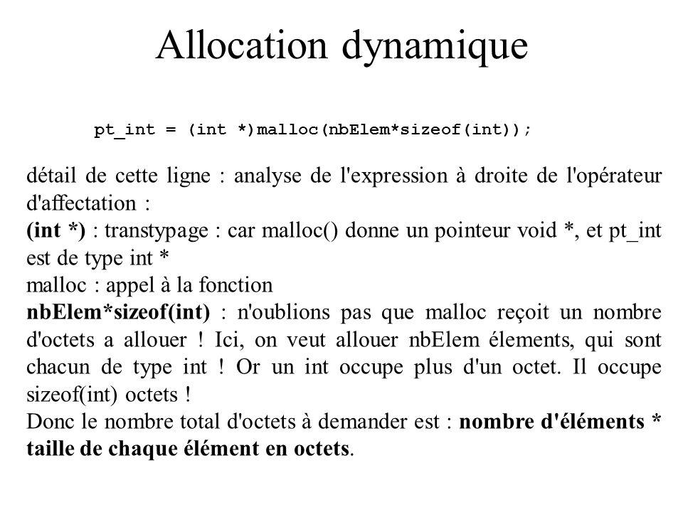 Allocation dynamique pt_int = (int *)malloc(nbElem*sizeof(int)); détail de cette ligne : analyse de l'expression à droite de l'opérateur d'affectation