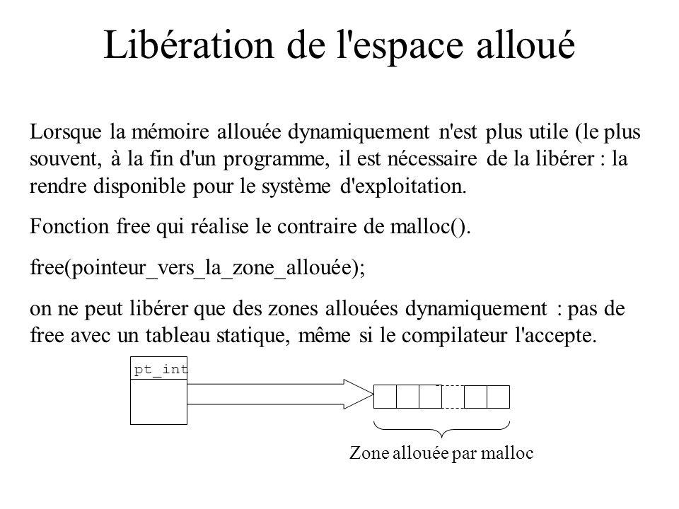 Libération de l'espace alloué Lorsque la mémoire allouée dynamiquement n'est plus utile (le plus souvent, à la fin d'un programme, il est nécessaire d