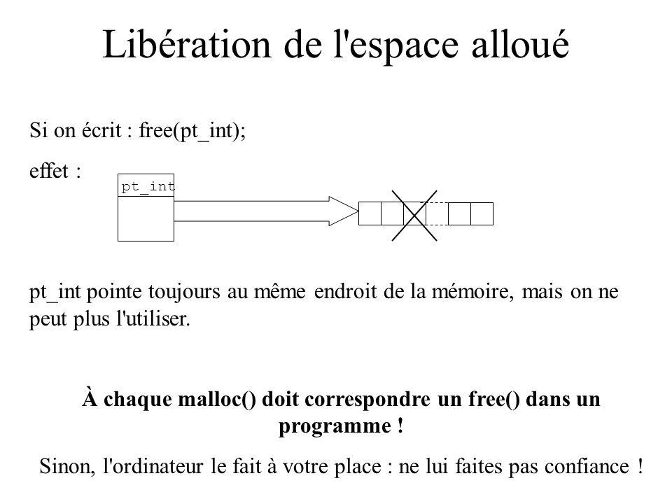 Libération de l'espace alloué Si on écrit : free(pt_int); effet : pt_int pointe toujours au même endroit de la mémoire, mais on ne peut plus l'utilise