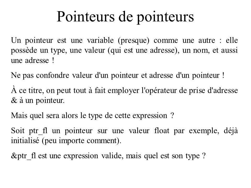 Pointeurs de pointeurs Un pointeur est une variable (presque) comme une autre : elle possède un type, une valeur (qui est une adresse), un nom, et aus