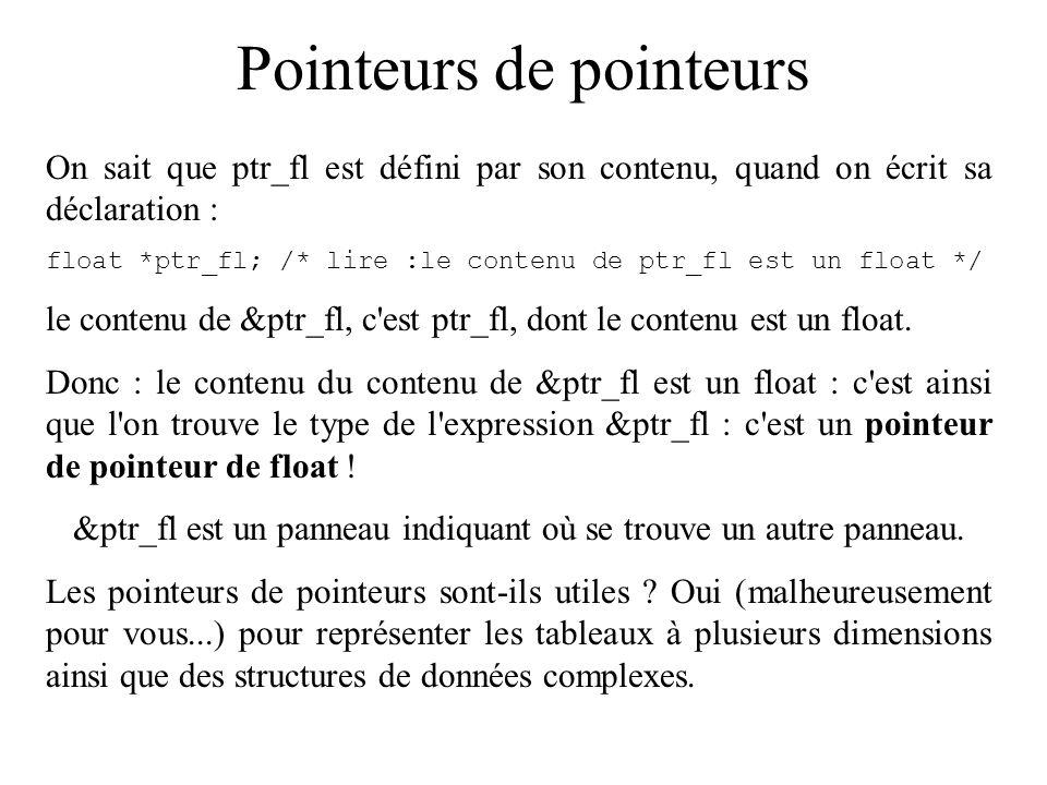 Pointeurs de pointeurs On sait que ptr_fl est défini par son contenu, quand on écrit sa déclaration : float *ptr_fl; /* lire :le contenu de ptr_fl est