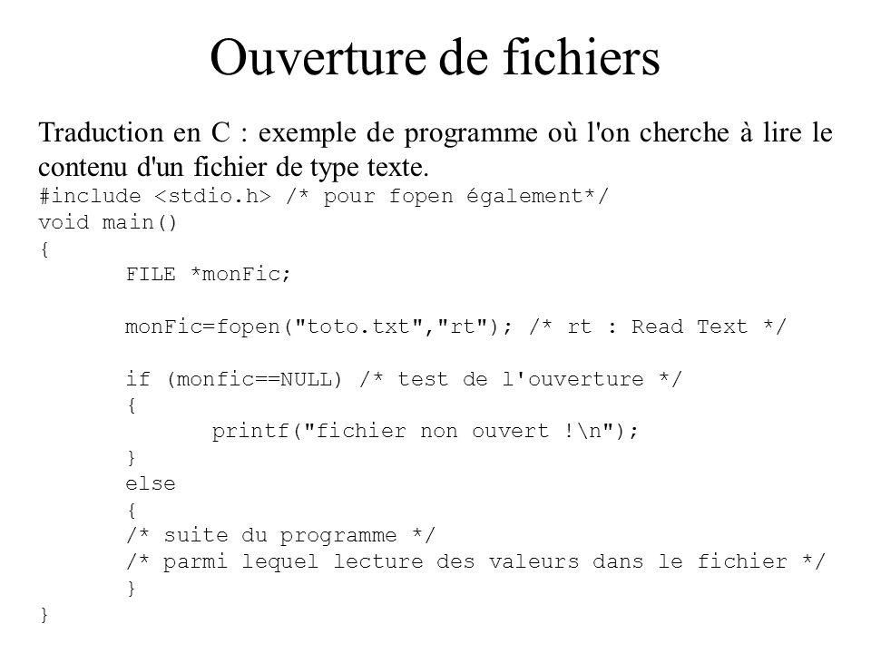 Ouverture de fichiers Traduction en C : exemple de programme où l'on cherche à lire le contenu d'un fichier de type texte. #include /* pour fopen égal