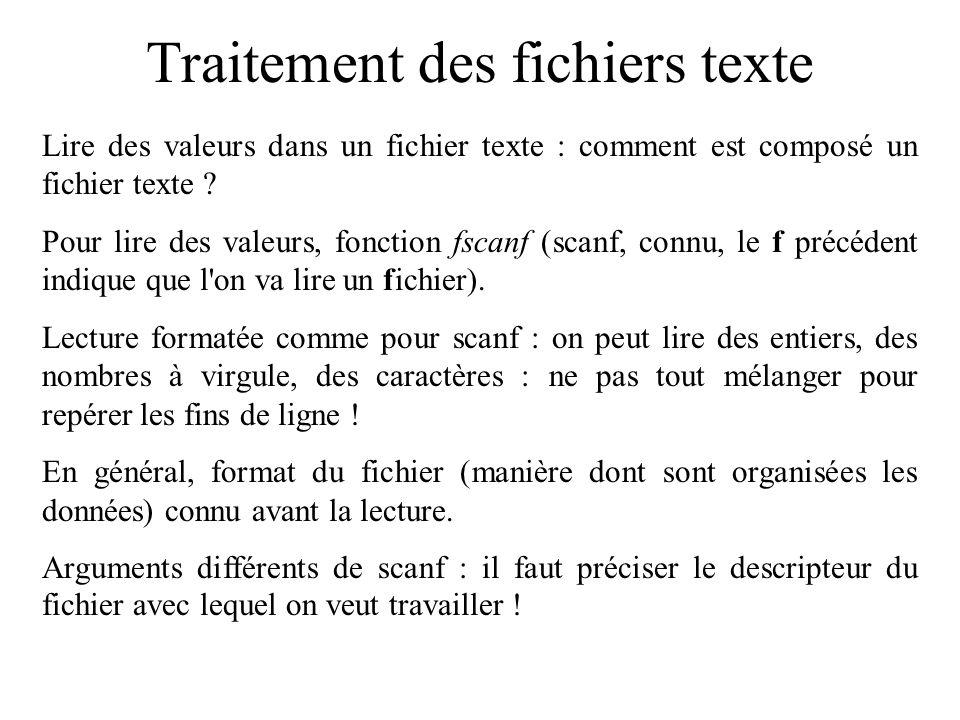 Traitement des fichiers texte Lire des valeurs dans un fichier texte : comment est composé un fichier texte ? Pour lire des valeurs, fonction fscanf (