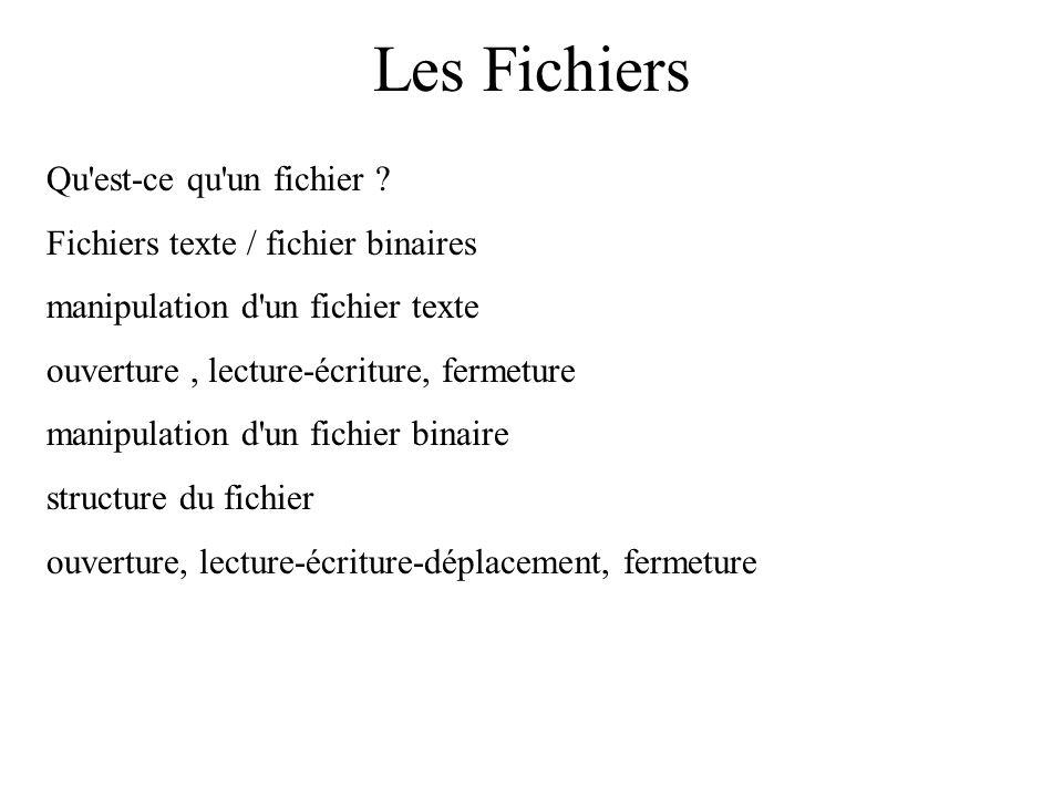 Les Fichiers Qu'est-ce qu'un fichier ? Fichiers texte / fichier binaires manipulation d'un fichier texte ouverture, lecture-écriture, fermeture manipu