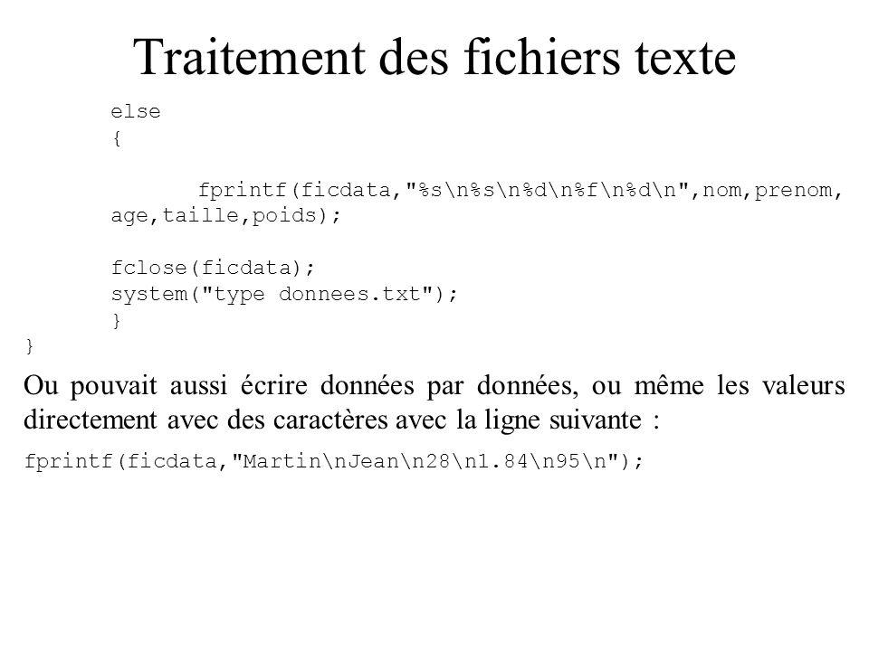 Traitement des fichiers texte else { fprintf(ficdata,