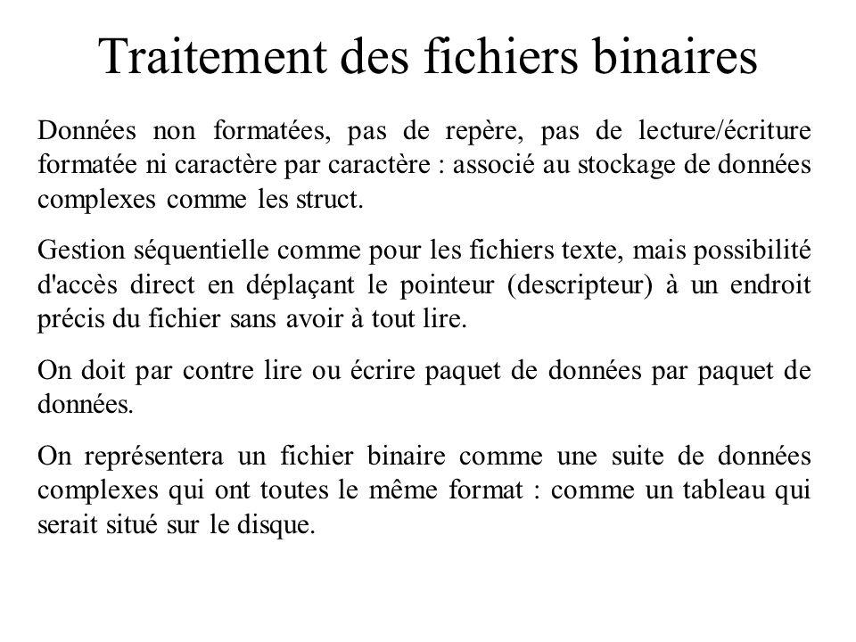 Traitement des fichiers binaires Données non formatées, pas de repère, pas de lecture/écriture formatée ni caractère par caractère : associé au stocka