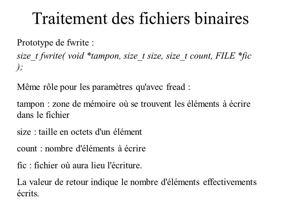 Traitement des fichiers binaires Prototype de fwrite : size_t fwrite( void *tampon, size_t size, size_t count, FILE *fic ); Même rôle pour les paramèt