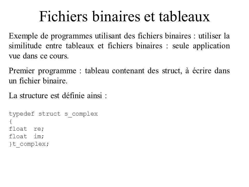 Fichiers binaires et tableaux Exemple de programmes utilisant des fichiers binaires : utiliser la similitude entre tableaux et fichiers binaires : seu