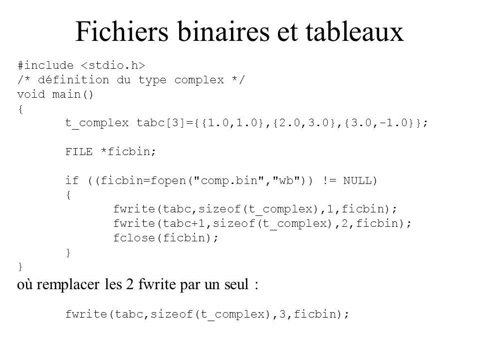 Fichiers binaires et tableaux #include /* définition du type complex */ void main() { t_complex tabc[3]={{1.0,1.0},{2.0,3.0},{3.0,-1.0}}; FILE *ficbin
