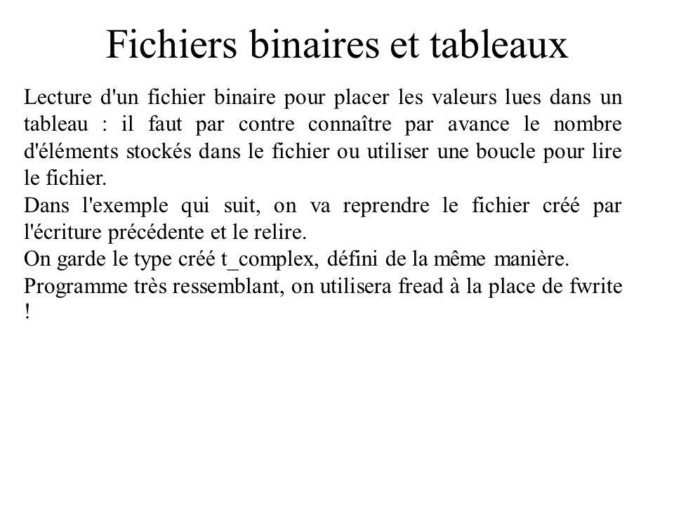Fichiers binaires et tableaux Lecture d'un fichier binaire pour placer les valeurs lues dans un tableau : il faut par contre connaître par avance le n