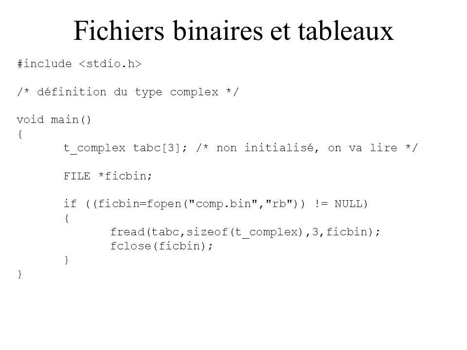 Fichiers binaires et tableaux #include /* définition du type complex */ void main() { t_complex tabc[3]; /* non initialisé, on va lire */ FILE *ficbin
