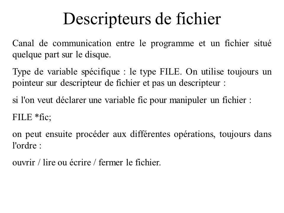 Descripteurs de fichier Canal de communication entre le programme et un fichier situé quelque part sur le disque. Type de variable spécifique : le typ
