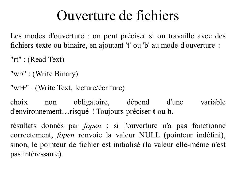 Ouverture de fichiers Les modes d'ouverture : on peut préciser si on travaille avec des fichiers texte ou binaire, en ajoutant 't' ou 'b' au mode d'ou