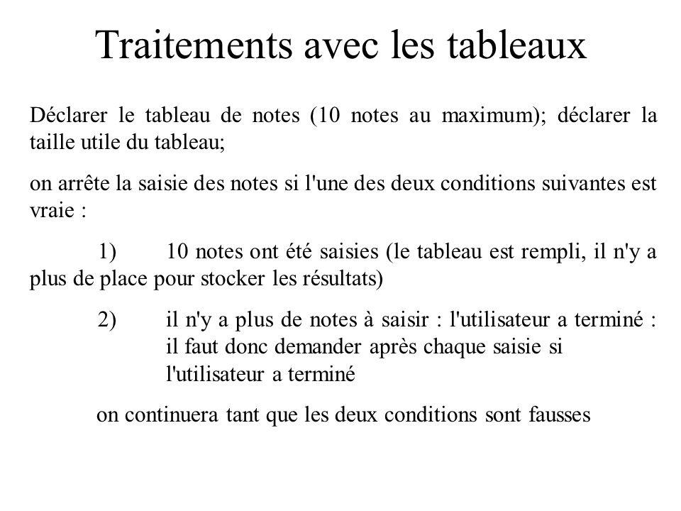 Traitements avec les tableaux Exemple classique : initialiser un tableau avec des valeurs saisies au clavier.