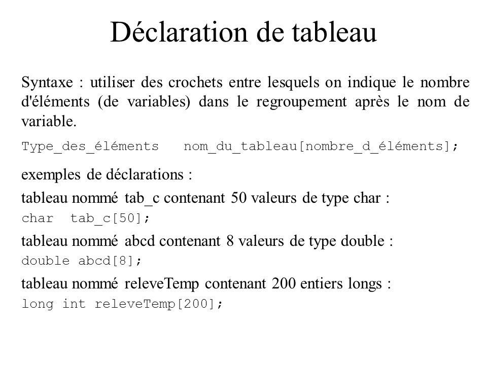 Tableaux Certains problèmes nécessitent beaucoup de variables du même type.