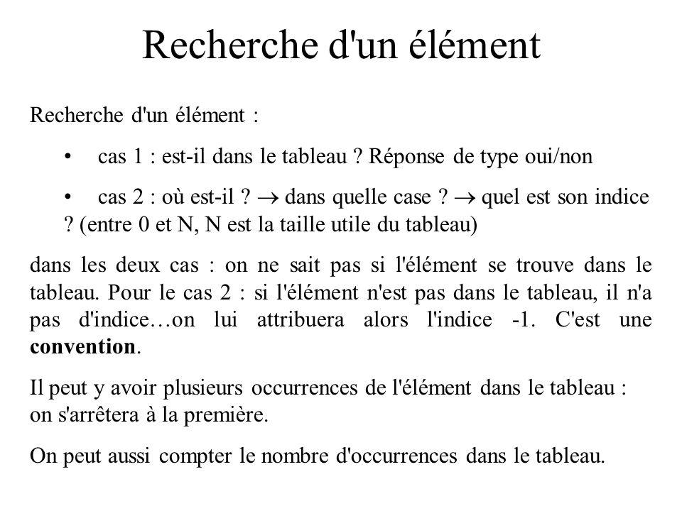 Tableaux, recherches, tris Recherche d un élément : cas 1 : est-il dans le tableau .