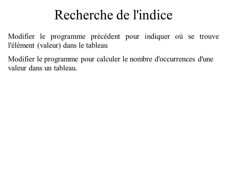 Recherche : programme if (valeur==tabVal[indice]) { printf( %d est dans le tableau\n ,valeur); } else { printf( %d n est pas dans le tableau\n ,valeur); }