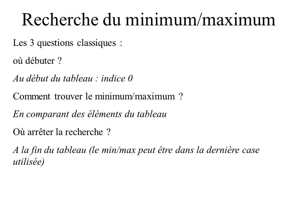 Recherche du minimum/maximum Recherche du plus petit ou du plus grand : différent de la recherche d un élément.