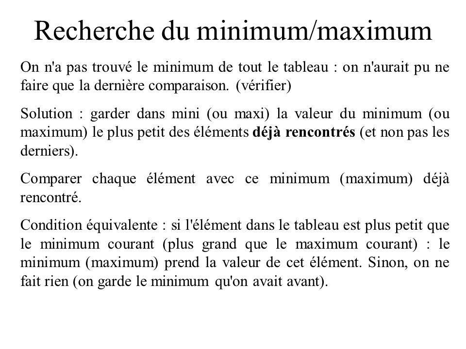 Recherche du minimum/maximum Exemple : de indice = 0 à indice=3, comparer tab[indice] et tab[indice+1].