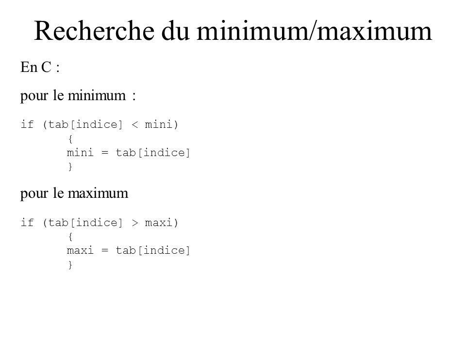 Recherche du minimum/maximum On n a pas trouvé le minimum de tout le tableau : on n aurait pu ne faire que la dernière comparaison.