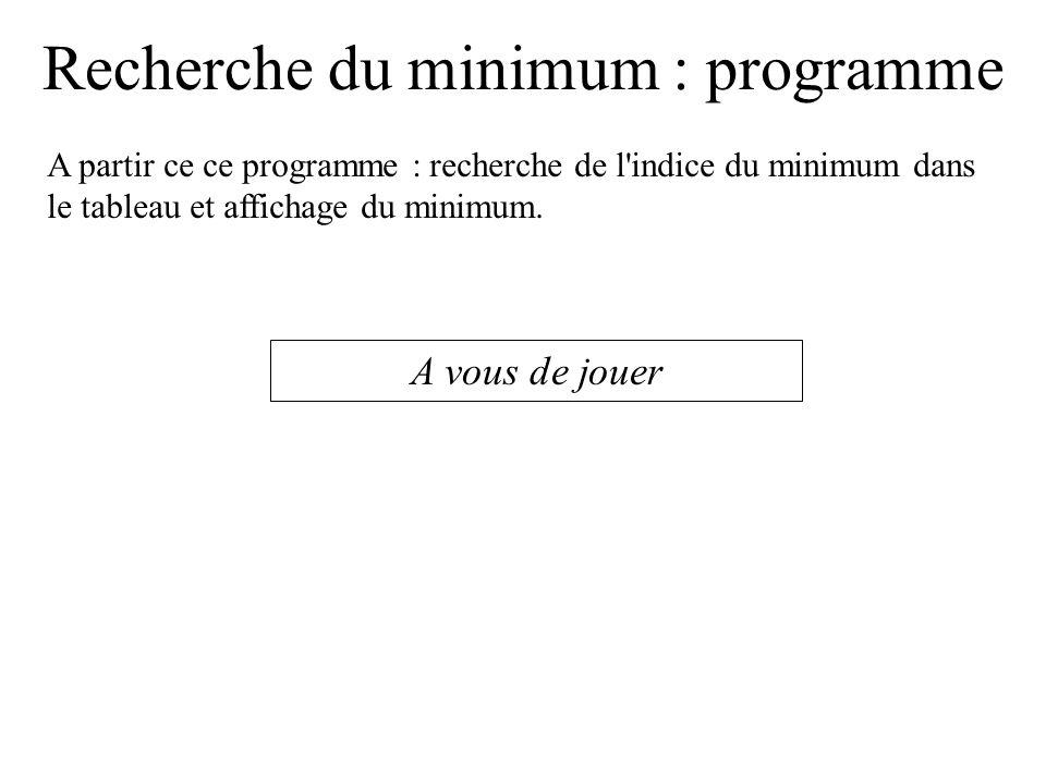 Recherche du minimum : programme mini = tab[0]; for (indice=1; indice<taille;indice++) { if (tab[indice] < mini) { mini = tab[indice]; } printf( le minimum est : %f\n ,mini); } Valeur initiale du minimum .