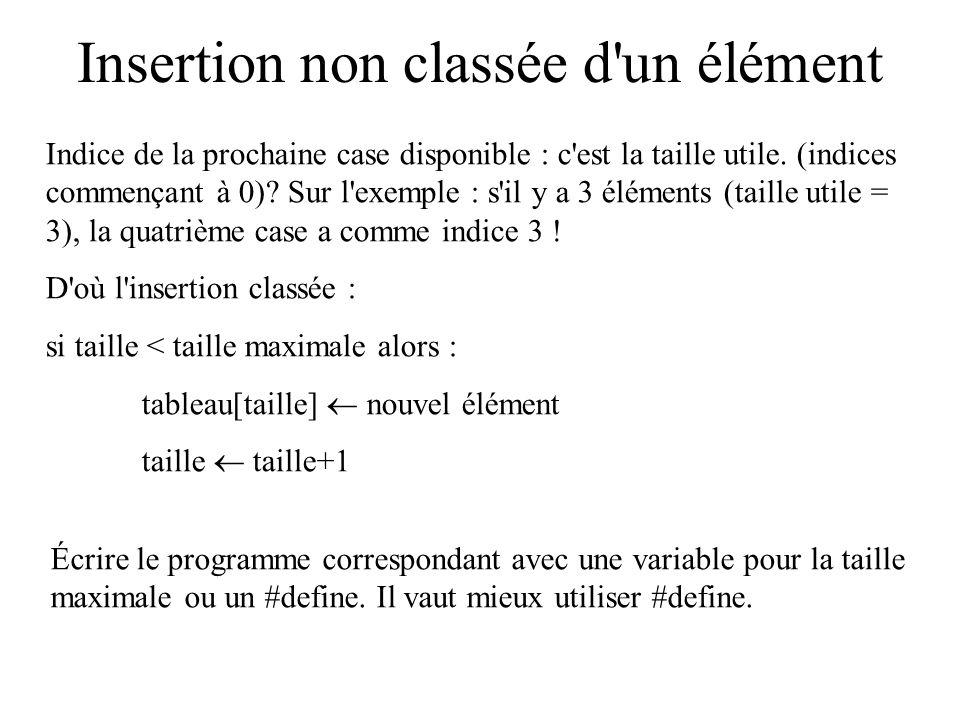 Insertion non classée d un élément T S F Illustration : en gris : cases non utilisées Taille utile Taille maximum Prochaine case disponible