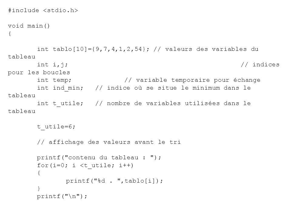 Tri par extraction (ou sélection) Soit un tableau comportant t_u variables utilisées.