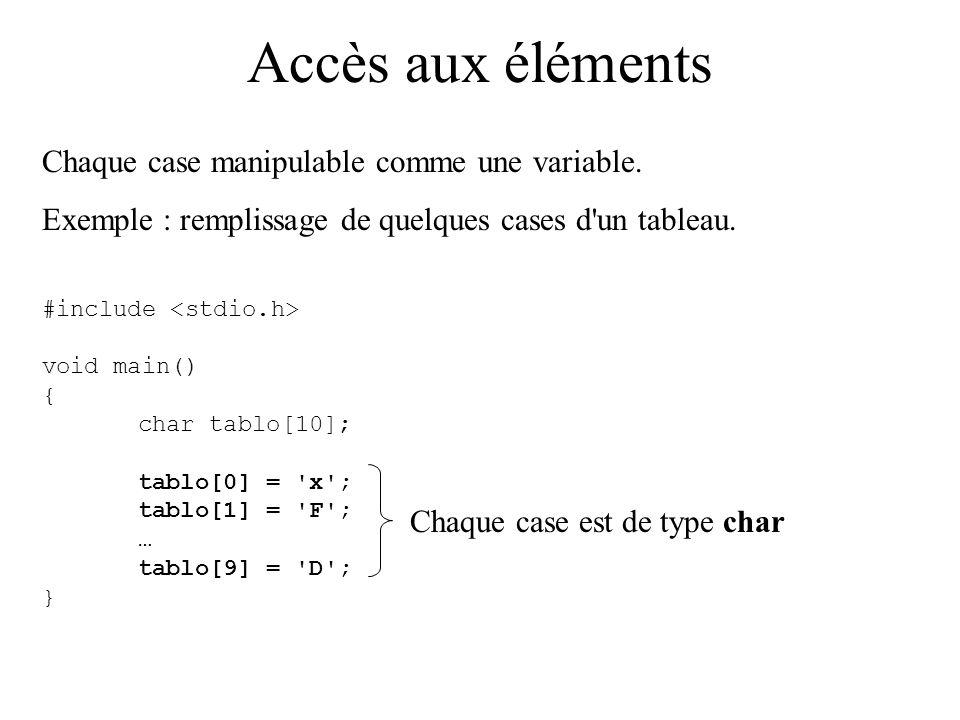 Accès aux éléments Chaque case est accessible par un nom : le nom du tableau suivi de l indice noté entre crochets.