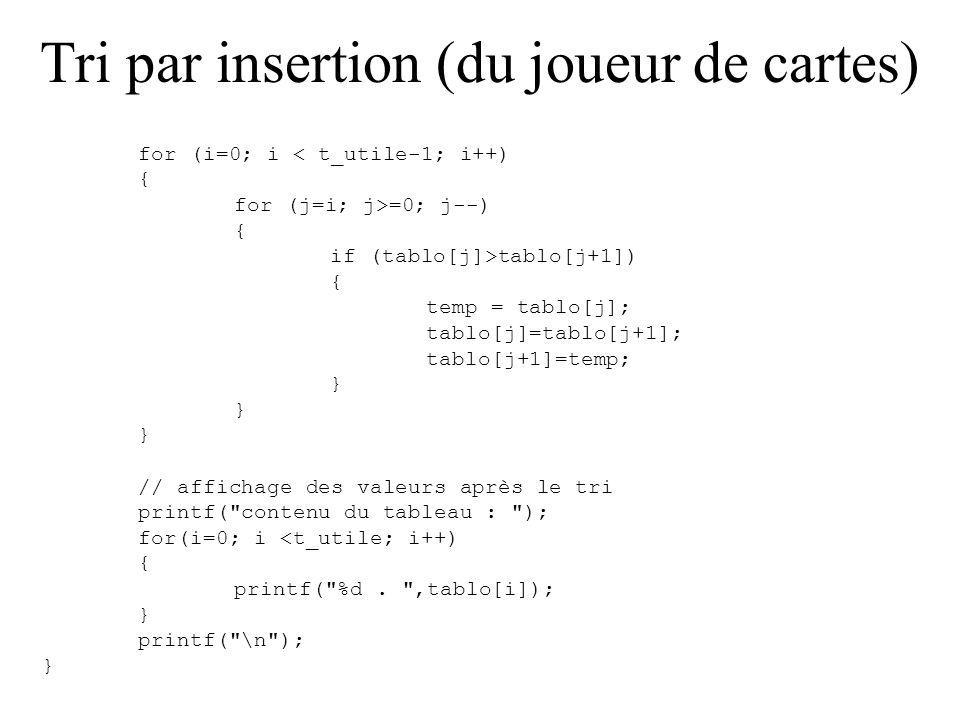 Tri par insertion (du joueur de cartes) #include void main() { int tablo[10]={9,7,4,1,2,54}; int i,j;// indices pour les boucles int temp;// variable temporaire pour échange int ind_min; int t_utile; t_utile=6; // affichage des valeurs avant le tri printf( contenu du tableau : ); for(i=0; i <t_utile; i++) { printf( %d.