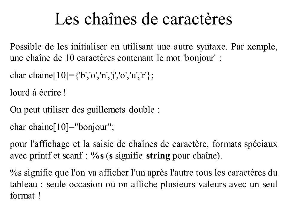Les chaînes de caractères Chaîne de caractères : tableau contenant une suite de caractères, utilisé pour stocker du texte en général.