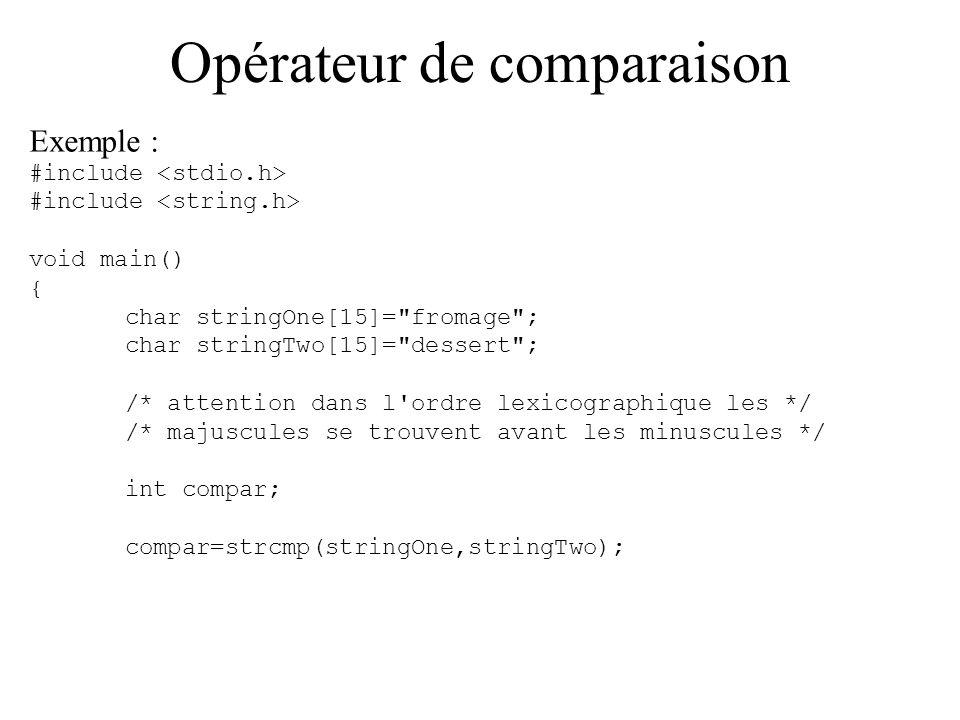 Opérateur de comparaison Peut-on savoir si deux chaînes sont égales .