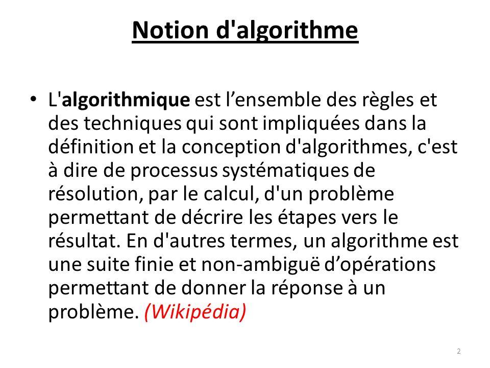 Notion d'algorithme L'algorithmique est lensemble des règles et des techniques qui sont impliquées dans la définition et la conception d'algorithmes,