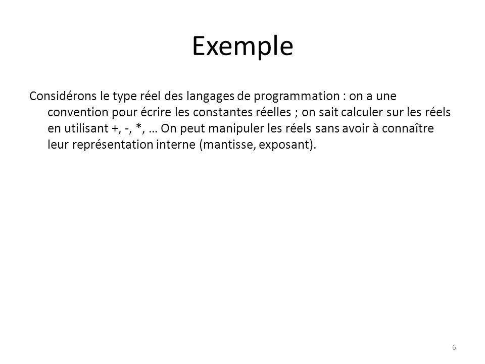 Exemple Considérons le type réel des langages de programmation : on a une convention pour écrire les constantes réelles ; on sait calculer sur les rée