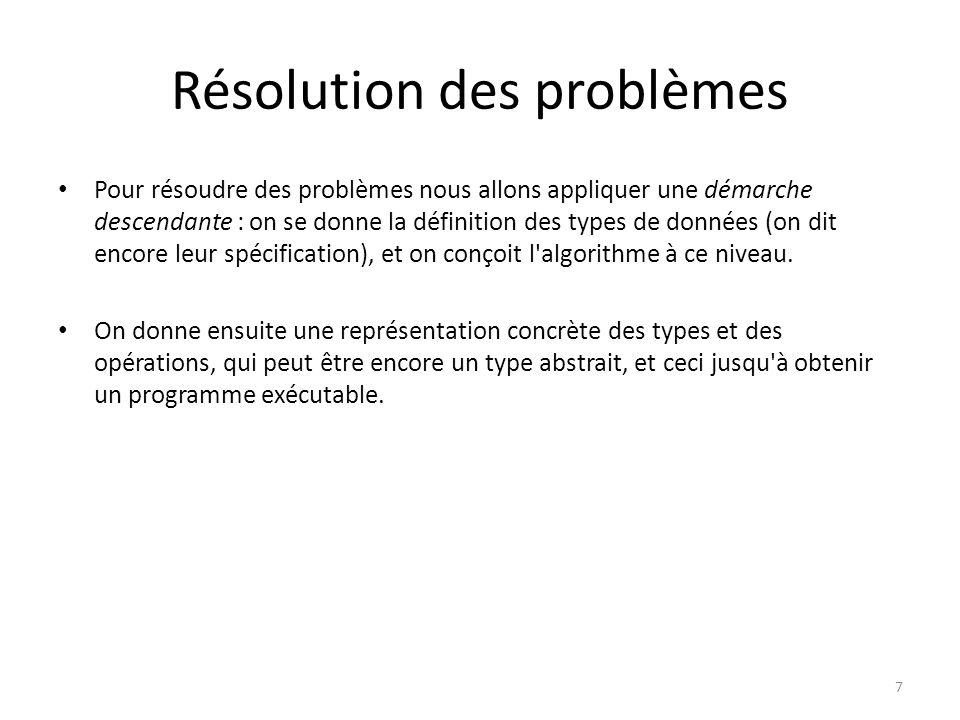Résolution des problèmes Pour résoudre des problèmes nous allons appliquer une démarche descendante : on se donne la définition des types de données (