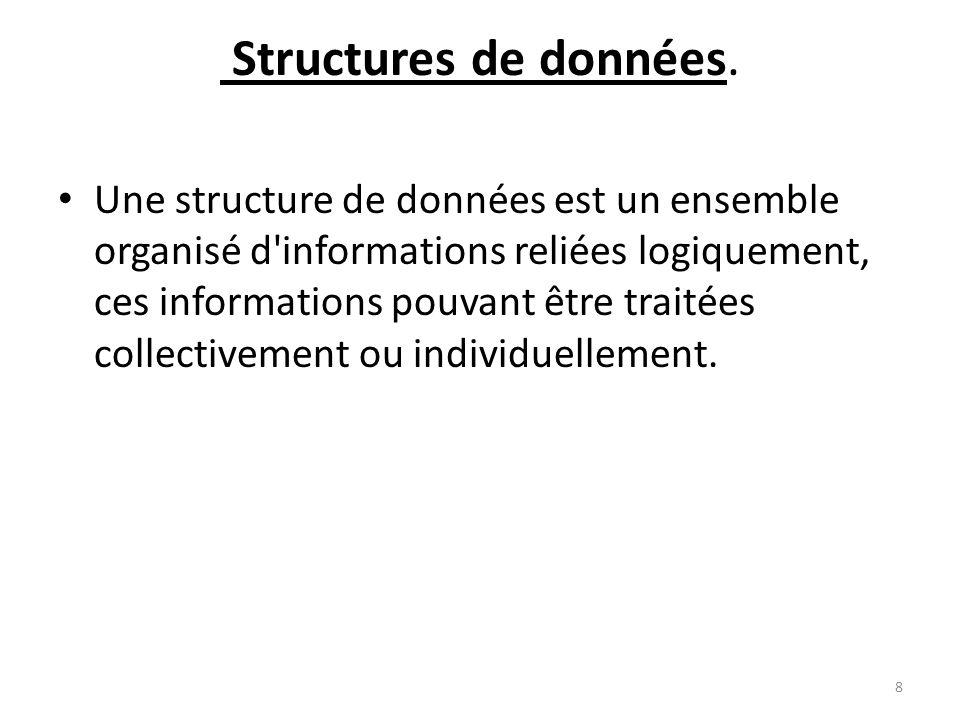 Structures de données. Une structure de données est un ensemble organisé d'informations reliées logiquement, ces informations pouvant être traitées co
