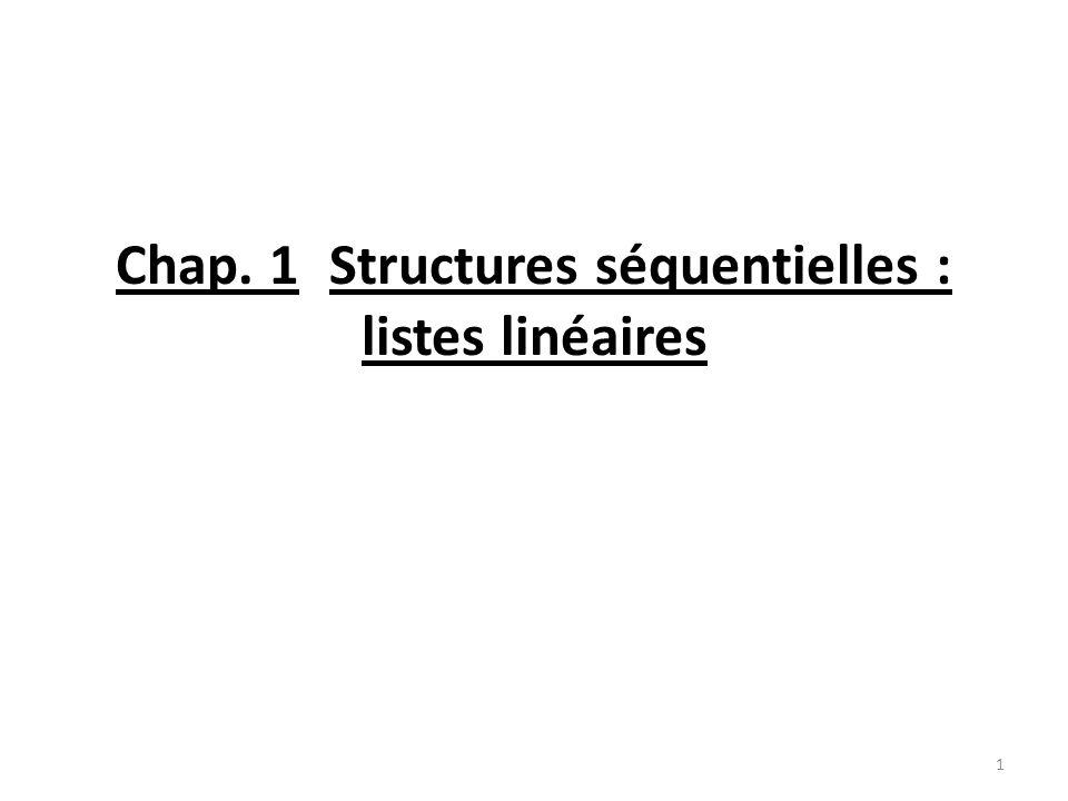 Chap. 1Structures séquentielles : listes linéaires 1