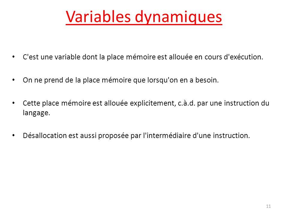 Variables dynamiques C'est une variable dont la place mémoire est allouée en cours d'exécution. On ne prend de la place mémoire que lorsqu'on en a bes