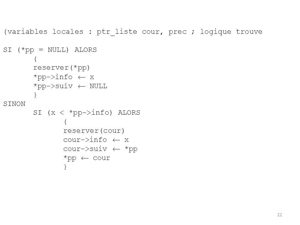 {variables locales : ptr_liste cour, prec ; logique trouve SI (*pp = NULL) ALORS { reserver(*pp) *pp->info x *pp->suiv NULL } SINON SI (x info) ALORS