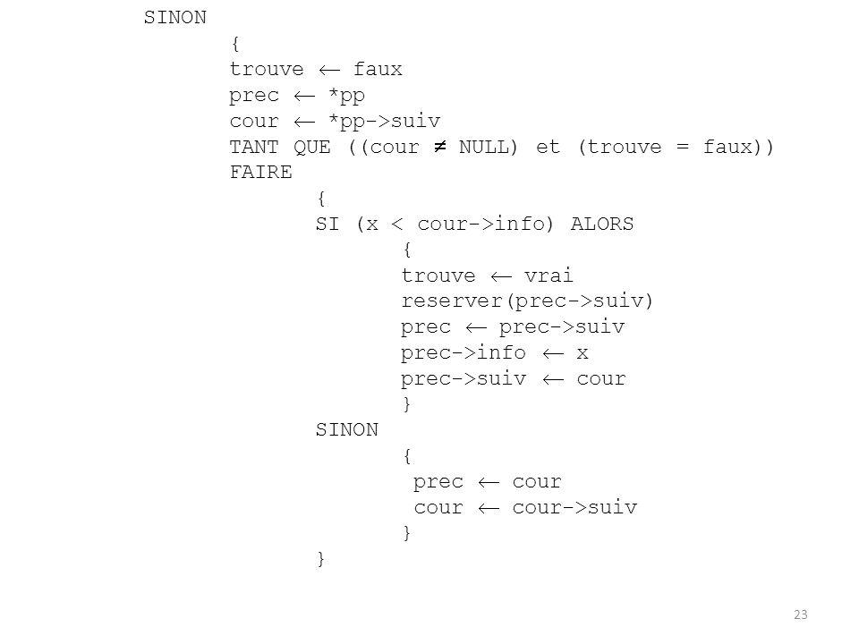 SINON { trouve faux prec *pp cour *pp->suiv TANT QUE ((cour NULL) et (trouve = faux)) FAIRE { SI (x info) ALORS { trouve vrai reserver(prec->suiv) pre