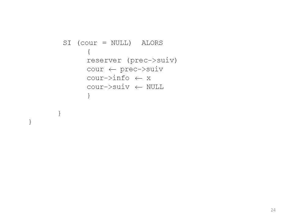 SI (cour = NULL) ALORS { reserver (prec->suiv) cour prec->suiv cour->info x cour->suiv NULL } } } 24