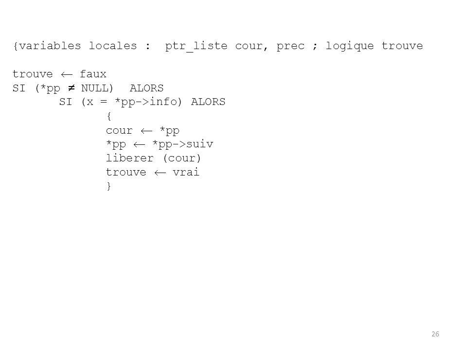 {variables locales : ptr_liste cour, prec ; logique trouve trouve faux SI (*pp NULL) ALORS SI (x = *pp->info) ALORS { cour *pp *pp *pp->suiv liberer (
