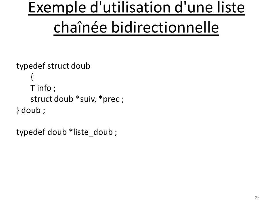 Exemple d'utilisation d'une liste chaînée bidirectionnelle 29 typedef struct doub { T info ; struct doub *suiv, *prec ; } doub ; typedef doub *liste_d