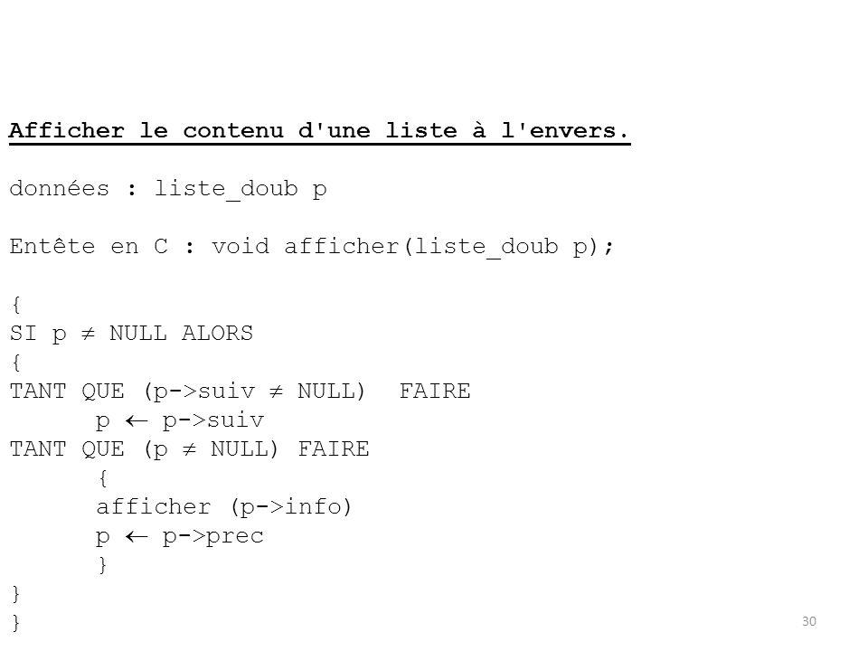 30 Afficher le contenu d'une liste à l'envers. données : liste_doub p Entête en C : void afficher(liste_doub p); { SI p NULL ALORS { TANT QUE (p->suiv