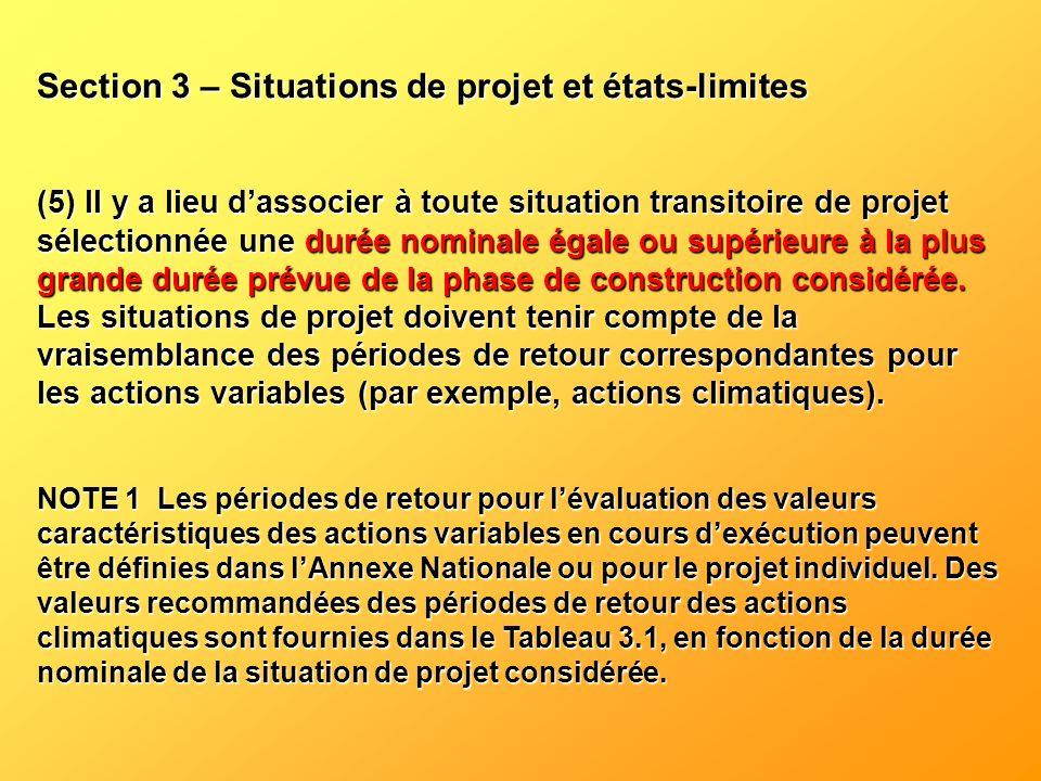 Section 3 – Situations de projet et états-limites (5) Il y a lieu dassocier à toute situation transitoire de projet sélectionnée une durée nominale ég