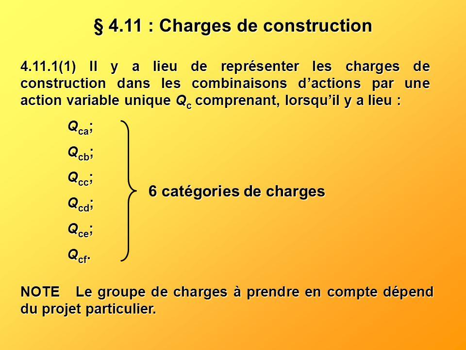 4.11.1(1) Il y a lieu de représenter les charges de construction dans les combinaisons dactions par une action variable unique Q c comprenant, lorsqui
