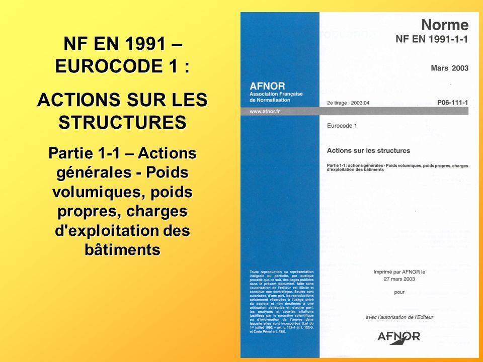 NF EN 1991 – EUROCODE 1 : ACTIONS SUR LES STRUCTURES Partie 1-1 – Actions générales - Poids volumiques, poids propres, charges d'exploitation des bâti